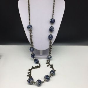 Chico's Gold Tone Blue Enamel Beaded Necklace